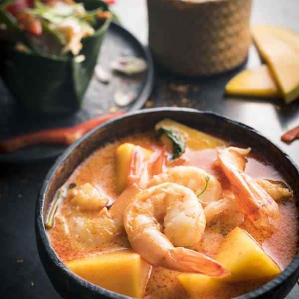 photographe culinaire thai food crevettes mangue