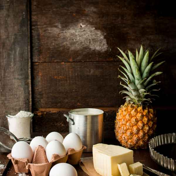 photographe culinaire ingredients tarte ananas