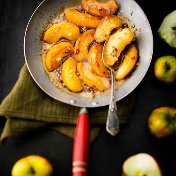 photographe culinaire pommes caramel