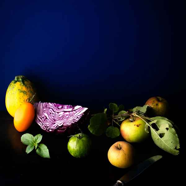 photographe nature morte pommes choux