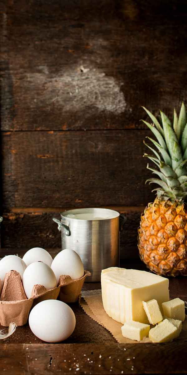 photographe culinaire ingredients tarte ananas