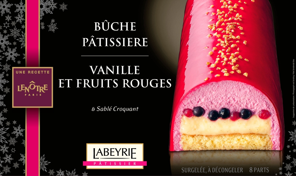 photographe culinaire labeyrie dessert packaging buche patissiere vanille fruits rouges