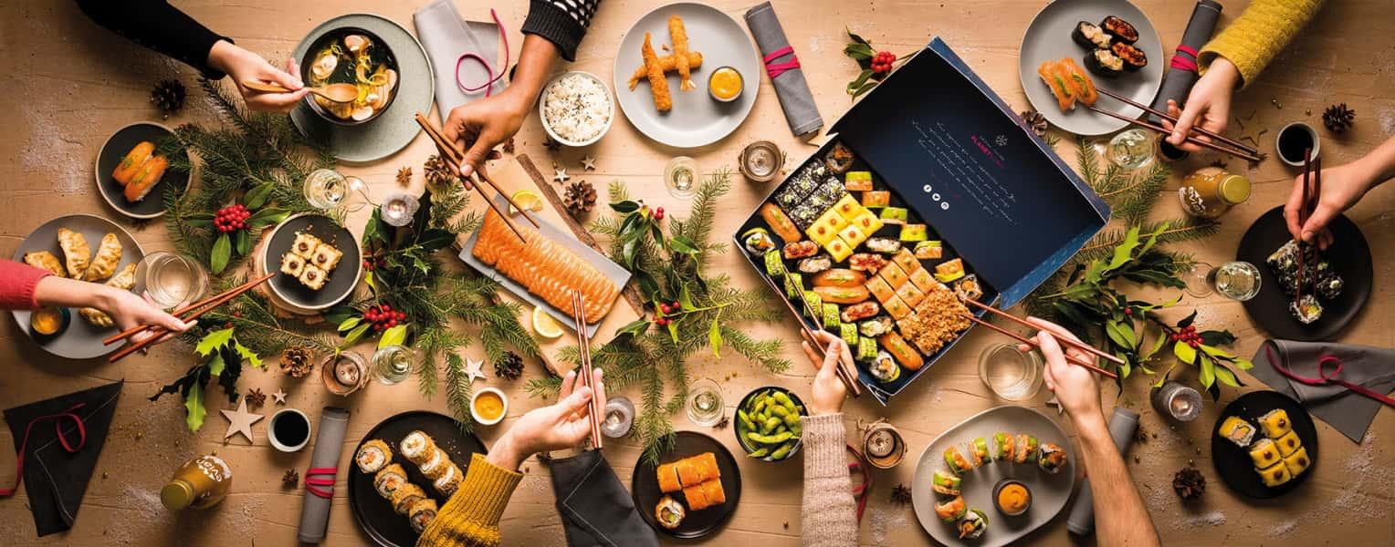 photographe culinaire planet sushi table noel box