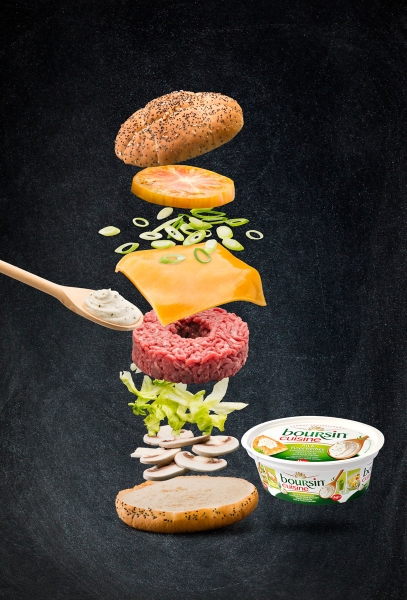photographe culinaire bel food service boursin burger levitation