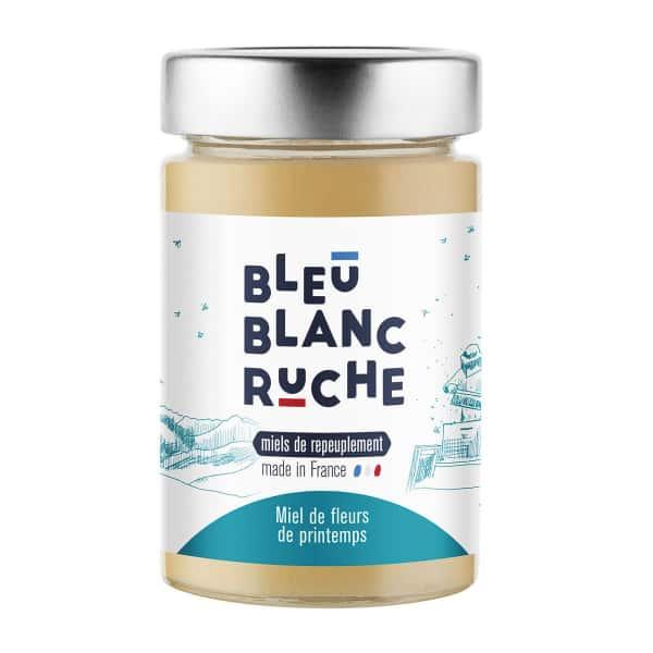 photographe culinaire bleu blanc ruche miel fleurs de printemps