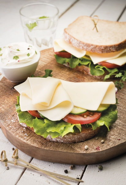 photographe culinaire savencia fromage tranche sandwich