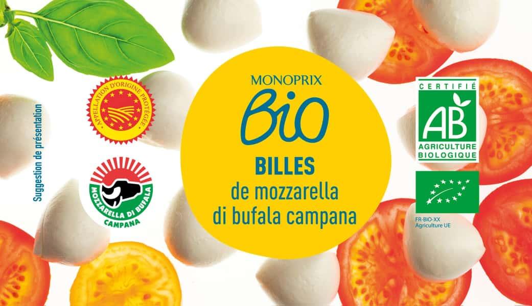 photographe culinaire monoprix bio bille mozzarella bufala