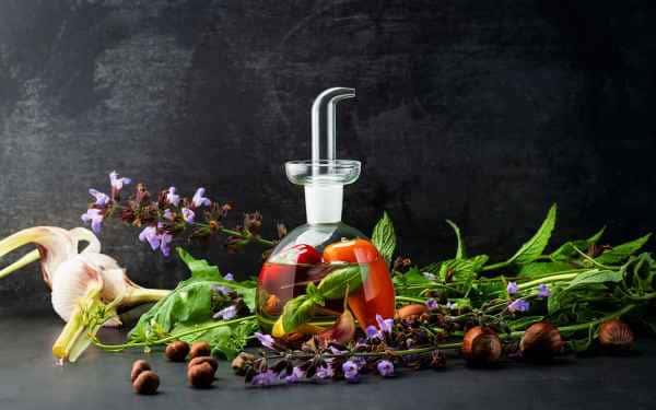 photographe culinaire post production huile poivrons ail