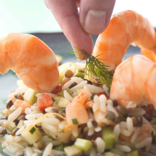 photographe video culinaire tefal salade cereales crevettes